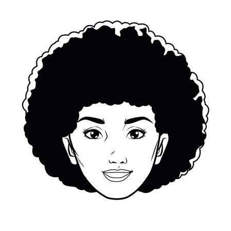 cute young woman head pop art line style vector illustration design