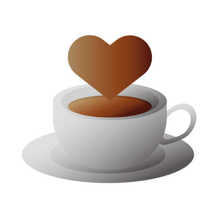 delicious coffee in ceramic cup with heart vector illustration design