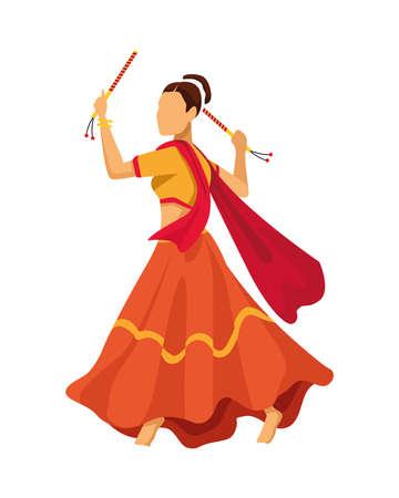 navratri dancer female traditional character vector illustration design