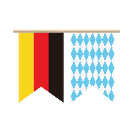 oktoberfest and germany flags hanging vector illustration design