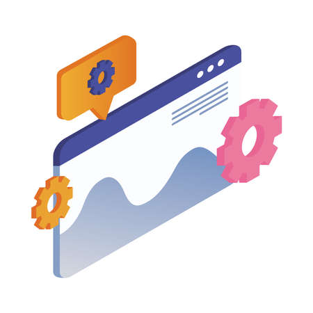 webweb page template and infographic with gears vector illustration design