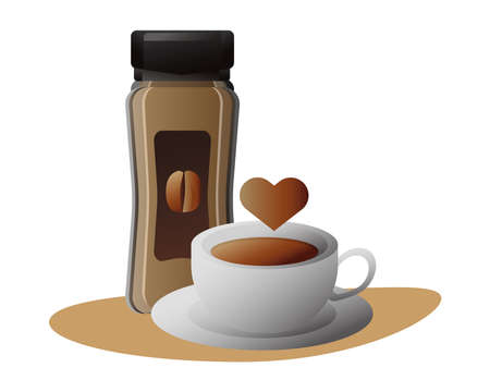 delicious coffee in ceramic cup and product bottle with heart vector illustration design