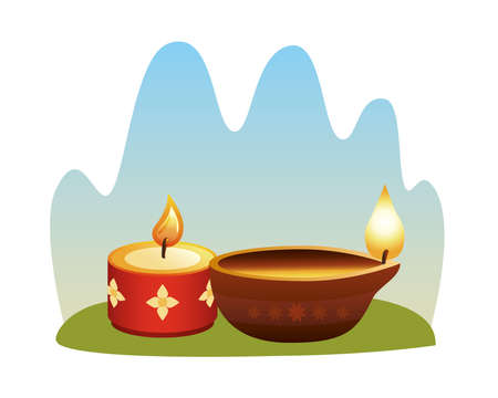 hindu religion candles wooden and red vector illustration design