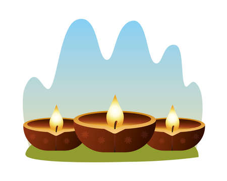 hindu religion candles wooden icons vector illustration design