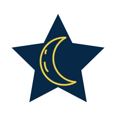crescent moon neon style icon vector illustration design