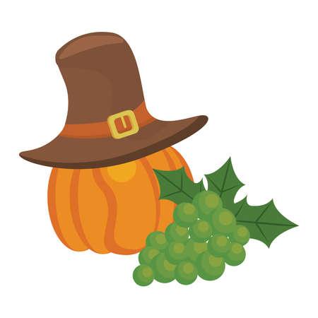 pumpkin with pilgrim hat and grapes thanksgiving vector illustration design 向量圖像