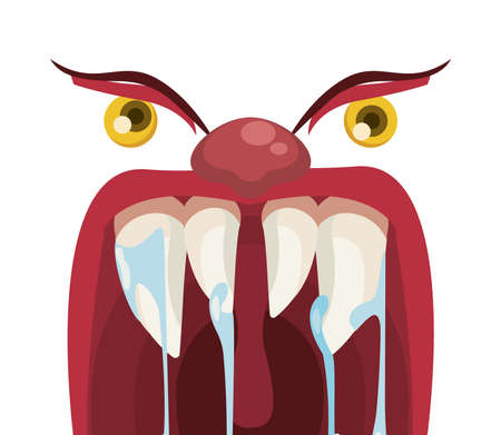 dark evil clown mouth halloween with slime and eyes vector illustration design  イラスト・ベクター素材
