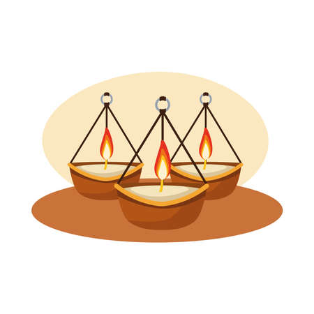 hindu religion candles hanging icon vector illustration design
