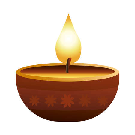hindu religion candle wooden icon vector illustration design