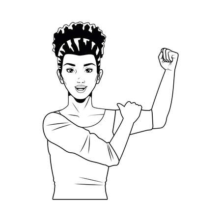 cute young strong woman pop art line style vector illustration design