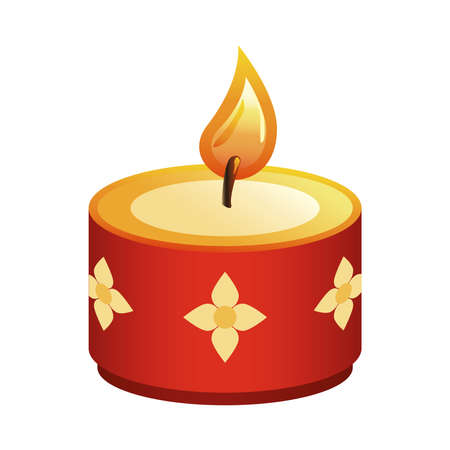 hindu religion candle red with golden flowers vector illustration design