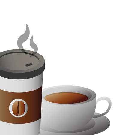 delicious coffee in ceramic cup and plastic container vector illustration design