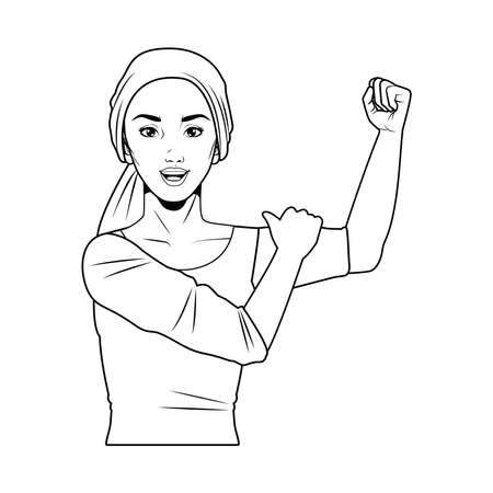 cute young strong woman wearing head scarf pop art line style vector illustration design