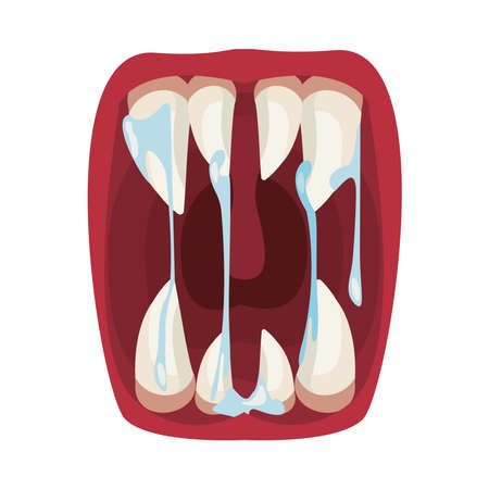 dark evil clown mouth halloween with slime vector illustration design  イラスト・ベクター素材