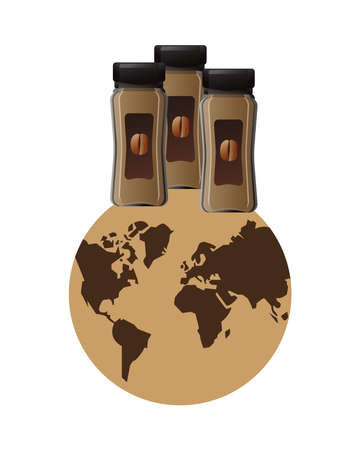 coffee products bottles in world planet earth vector illustration design