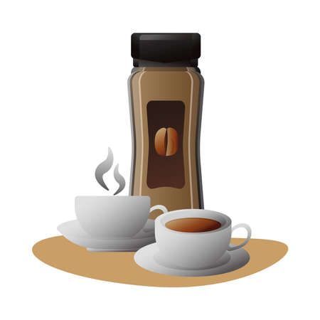 delicious coffee in ceramic cups and product bottle vector illustration design