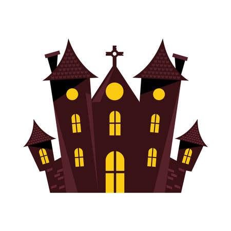 halloween dark castle isolated icon vector illustration design Ilustrace