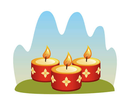 hindu religion candles red with golden flowers vector illustration design
