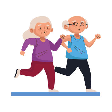 old persons couple running characters vector illustration design