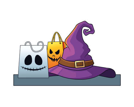 halloween witch hat with shopping bags vector illustration design