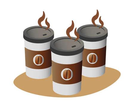 delicious coffee in plastic containers vector illustration design Ilustracja