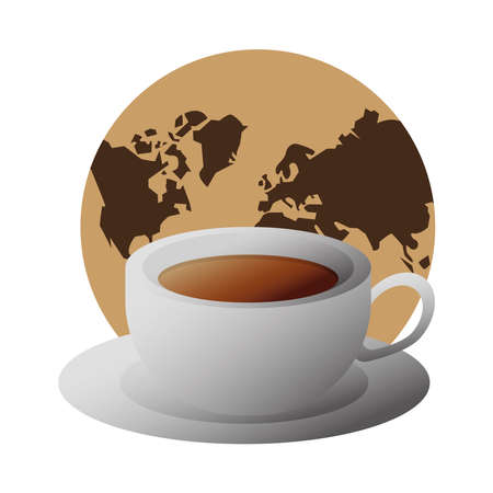 delicious coffee in ceramic cup with earth planet vector illustration design