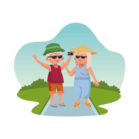 old persons tourist couple with camera characters vector illustration design
