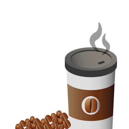 delicious coffee in plastic container with grains vector illustration design