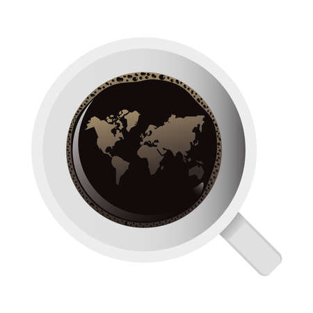 delicious coffee in ceramic cup with earth maps airview vector illustration design
