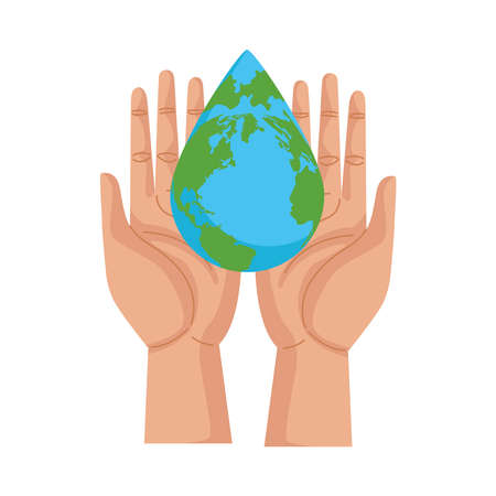 hands lifting earth planet with water drop shape vector illustration design