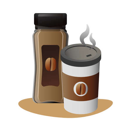 delicious coffee in plastic container and product bottle vector illustration design