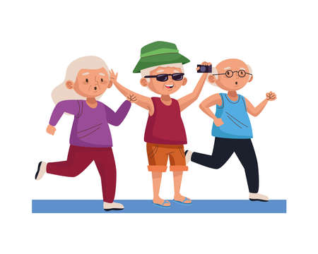 group of old people practicing activities characters vector illustration design Ilustracja