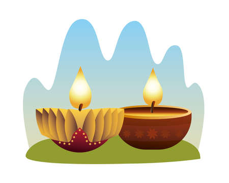 hindu religion candles gold and wooden icons vector illustration design