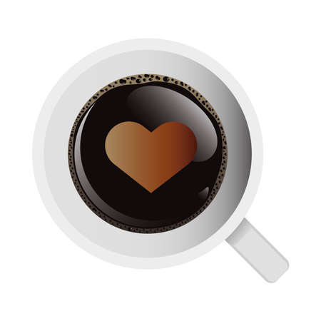 delicious coffee in ceramic cup with heart airview vector illustration design