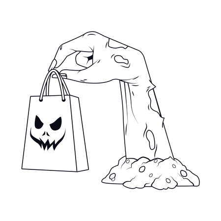death zombie hand with shopping bag halloween icon vector illustration design 矢量图像