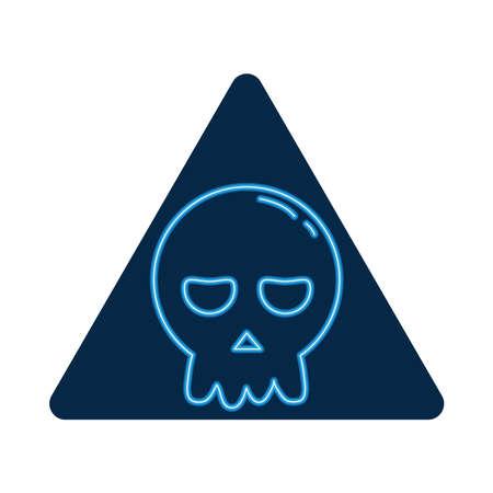 halloween head skull neon style icon vector illustration design