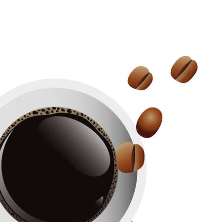 delicious coffee in ceramic cup and grains airview vector illustration design