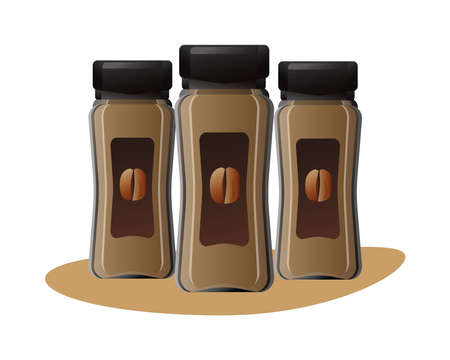 coffee products bottles isolated icons vector illustration design
