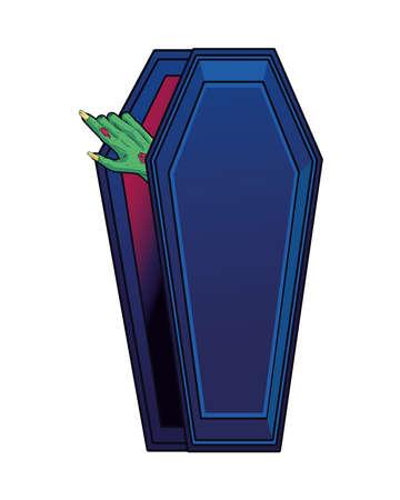 death zombie hand in coffin halloween icon vector illustration design
