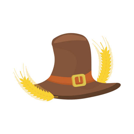 pilgrim hat with spikes barley thanksgiving vector illustration design 免版税图像 - 157577822