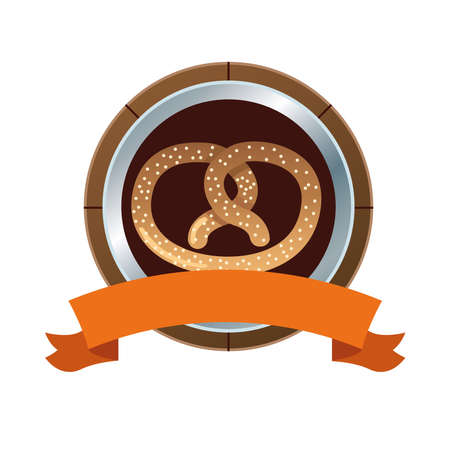 pretzel pastry food and ribbon frame vector illustration design