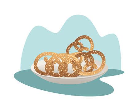 dish with pretzels pastry food vector illustration design