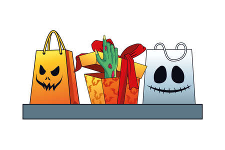 death zombie hand in gift halloween and shopping bags vector illustration design 矢量图像