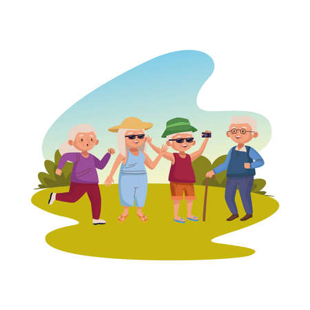 group of old people practicing activities in the camp vector illustration design Ilustracja