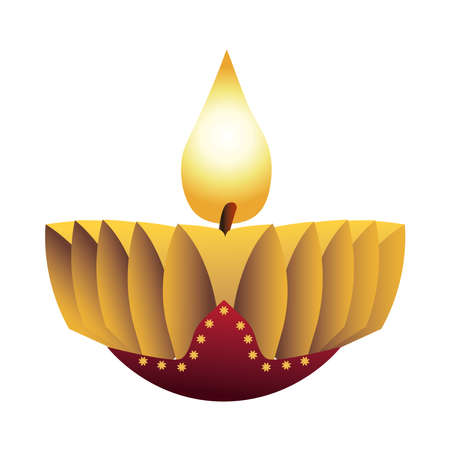 hindu religion candle golden icon vector illustration design