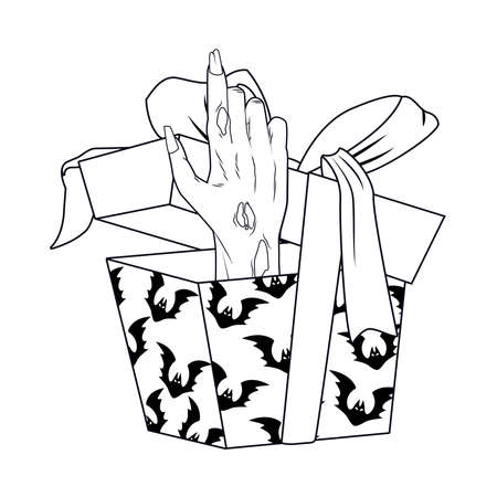 death zombie hand in gift halloween icon vector illustration design 矢量图像
