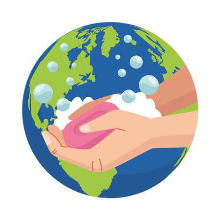 hands washing cleaning with soap bar and earth planet vector illustration design