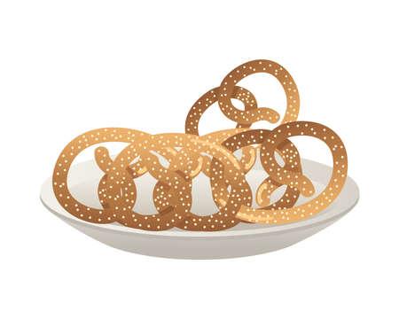 dish with pretzels pastry food vector illustration design Illustration