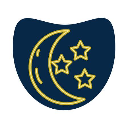 crescent moon and stars neon style icon vector illustration design 矢量图像