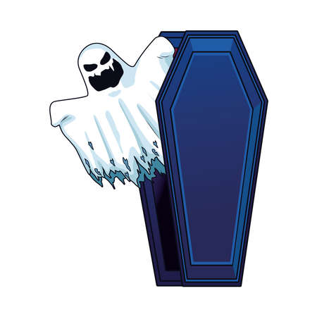 halloween ghost floating in coffin character icon vector illustration design